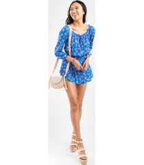 beverly off the shoulder floral romper - blue