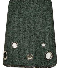 moschino frayed hem perforated skirt