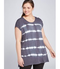 lane bryant women's livi lace-up shoulder tunic top 14/16 india ink
