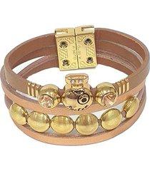 pulseira armazem rr bijoux couro parfum cristais terracota dourado