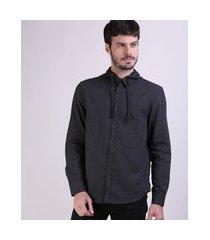 camisa de flanela masculina comfort com capuz removível manga longa cinza mescla escuro