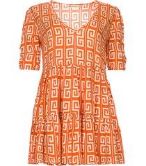 jurk met grafische print kelly  oranje