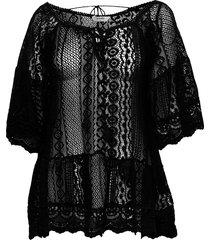 lace tunic beach wear svart hunkemöller
