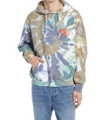 men's bdg urban outfitters cosmic tie dye hooded sweatshirt, size x-small - grey