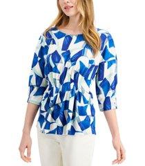alfani petite printed cinched dolman-sleeve top, created for macy's