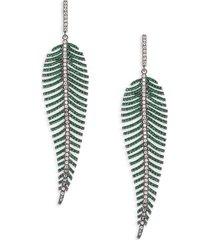 eye candy la women's luxe crystal leafy dangle earrings
