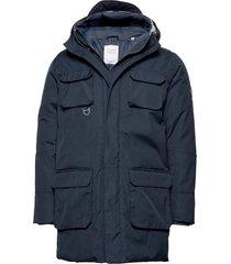 arctic canvas parka jacket - grs/ve parka jas blauw knowledge cotton apparel