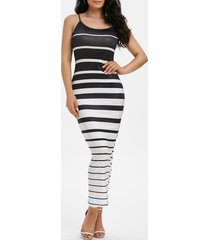 striped bodycon stretchy maxi cami dress