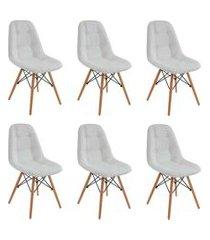 conjunto 6 cadeiras eiffel botonê branco