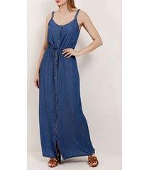 vestido jeans longo cambos feminino azul
