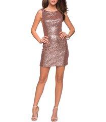 women's la femme sequin cocktail dress, size 12 - pink