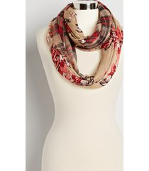 maurices womens floral plaid reversible infinity scarf