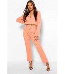 geweven skinny broek met hoge taille, oranje