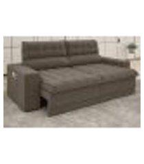 sofá omega 2,30m assento retrátil e reclinável velosuede marrom - netsofas