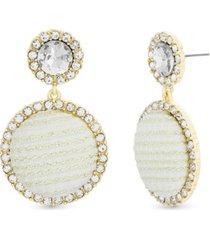 catherine malandrino rhinestone and fabric halo drop earring in yellow gold-tone alloy