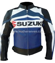 men mens suzuki gsx blue cowhide leather motorcycle motorbike biker jacket