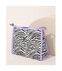 nécessaire feminina estampada animal print zebra multicor