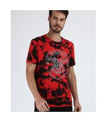 camiseta masculina harry potter hogwarts estampada tie dye manga curta gola careca vermelho
