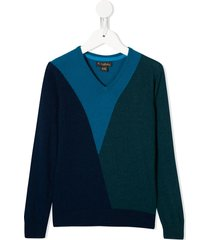 velveteen timothy geometric panel sweater - blue