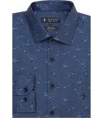 camisa dudalina manga longa jacquard fio tinto masculina (azul medio, 6)