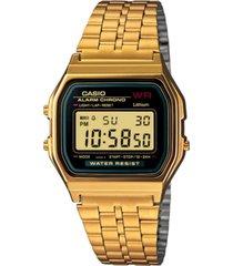 casio men's digital vintage gold-tone stainless steel bracelet watch 39x39mm a159wgea-1mv