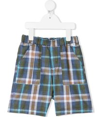 il gufo check fitted shorts - blue