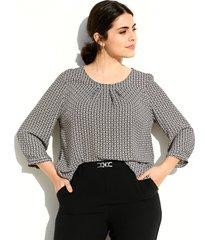 blouse m. collection wit::zwart::beige