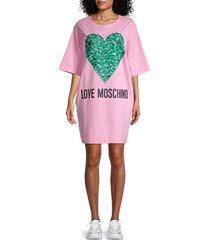 love moschino women's logo graphic t-shirt dress - pink - size 40 (6)