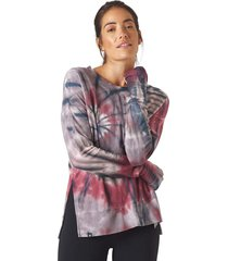 glyder women's lounge long sleeve t-shirt - berry tie dye - x-small spandex