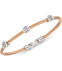 charriol women's debutante white topaz cable bangle bracelet (9/10 ct. t.w.) in stainless steel & rose gold-tone