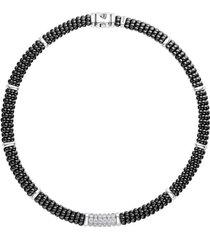 women's lagos black caviar diamond 6-link rope necklace
