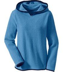 biokatoenen fleece pullover met capuchon, jeansblauw/nachtblauw 36/38