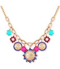 "guess gold-tone multicolor crystal, stone & charm statement necklace, 18"" + 2"" extender"
