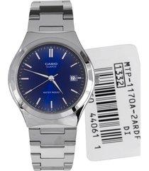 reloj casio elegante caballero mtp-1170a-2 a color plateado