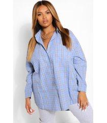 plus geborstelde geruite oversized boyfriend blouse, blue