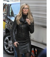 handmade jennifer aniston in leather jacket, black real leather jacket women