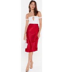 womens just my type satin midi skirt - red