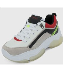 tenis lifestyle blanco-multicolor skechers city bloock