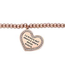 bracciale 'la misura dell'amore è amare senza misura' in acciaio rosato e strass per donna