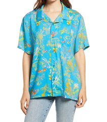 bp. be proud print camp shirt, size 4x-large - blue
