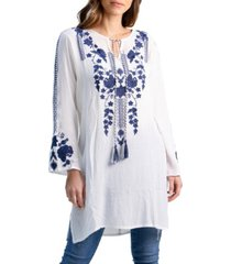 women's knee length embroidered peasant top