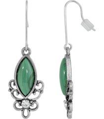 2028 sterling silver wire genuine stone malachite earrings