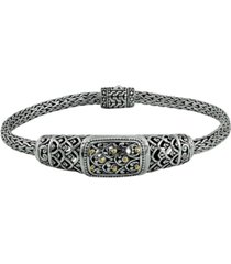 dragon skin classic bracelet with dragon bone chain in sterling silver and 18k yellow gold accents