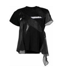 sacai camiseta drapeada com recortes contrastantes - preto