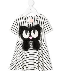 wauw capow by bangbang summer swing striped dress - white