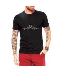 camiseta criativa urbana bicicleta ciclismo pulsação masculina