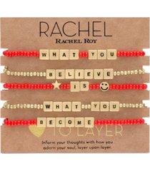 rachel rachel roy gold-tone 5-pc. set believe & become beaded stretch bracelets