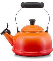 chaleira apito em aço esmaltados 1,6 litros le creuset laranja