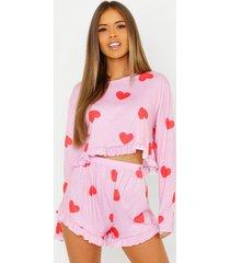 petite korte hartjesprint pyjama set met franjezoom, roze