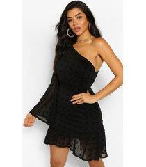 dobby mini-jurk met één schouder en uitlopende mouwtjes, zwart